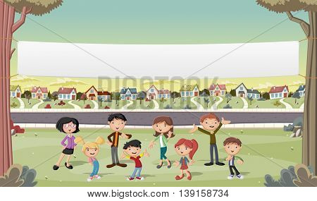 Banner over cartoon family in suburb neighborhood. Green park landscape with grass, trees, and houses.