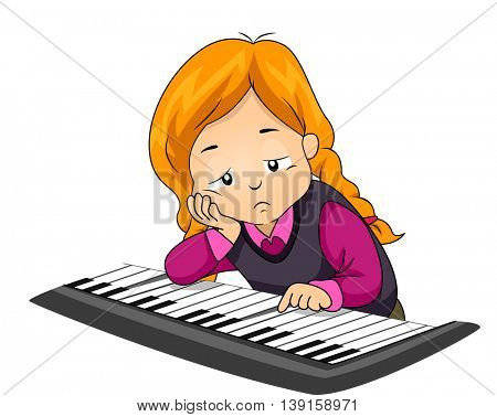 Illustration of a Bored Girl Playing with the Piano
