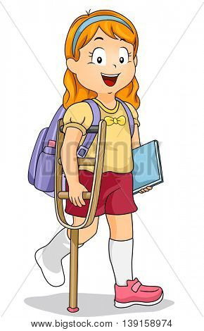 Illustration of a Little Girl Walking with a Crutch