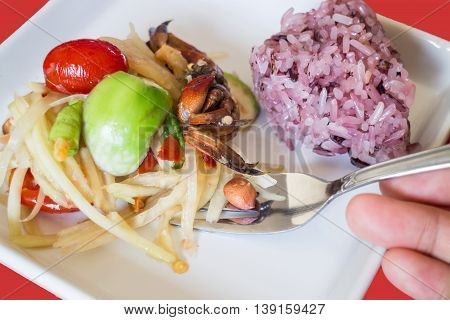 Spicy papaya salad (Som Tum) with berry sticky rice stock photo