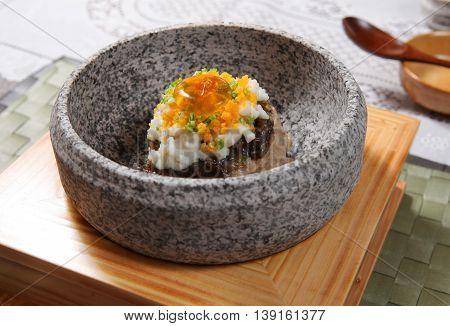 Seared Garoupa Fillet stuffed with Fish Maw in Truffle Sauce