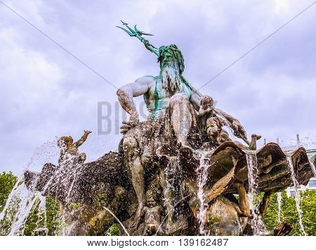 Neptunbrunnen Fountain In Berlin Hdr
