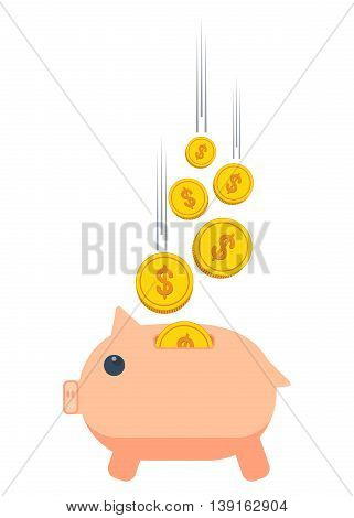 Pig piggy bank with gold coins. Conceptual image of saving banking and deposit. The financial system and security. Objects isolated on white background. Flat cartoon vector illustration.