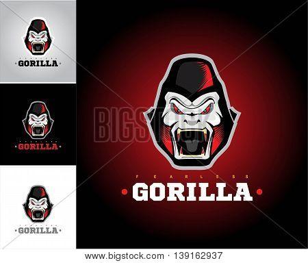 Gorilla. Roaring gorilla. Gorilla head in various background. King Kong.