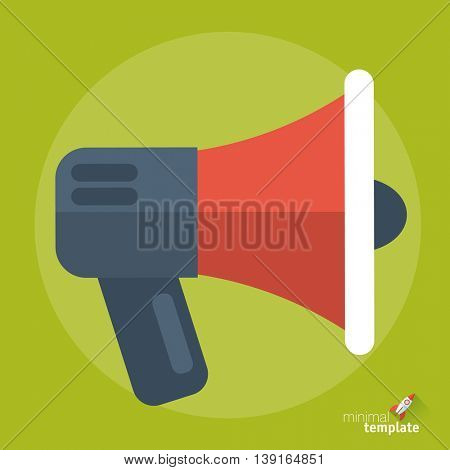 Flat design vector megaphone icon for application interface, presentation, web design and mobile app. Bullhorn template for offer, alert, promotion, advertising, hot news and propaganda.