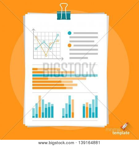 Flat design vector document clipboard icon  for application interface, presentation, web design and mobile app. Concept for planning, accounting, tax, entry and registration forms, infographics.