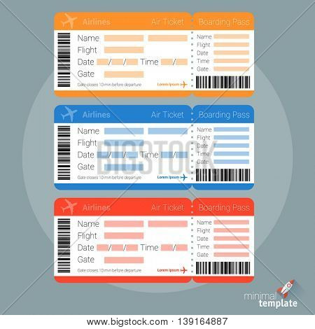Flat design  air ticket icon and template for application interface, presentation and web design and mobile app. Concept for online travel booking.