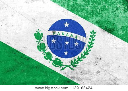 Flag Of Parana State, Brazil, With A Vintage And Old Look