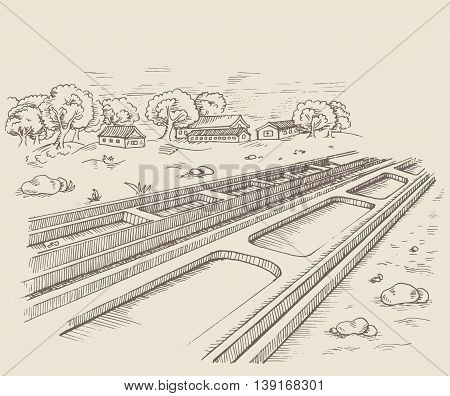 The parallel path rail railroad. Rails into the distance. Perspective. The countryside with houses and trees and stones. poster