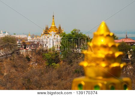 Golden Stupa. View Of The Small Town Sagaing, Myanmar
