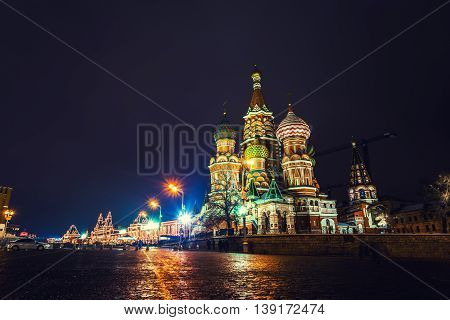 Saint Basil Cathedral on Red Square in Moscow, Russia at night. One of the most popular landmark in Russia. The building is shaped as a flame of a bonfire rising into the sky.