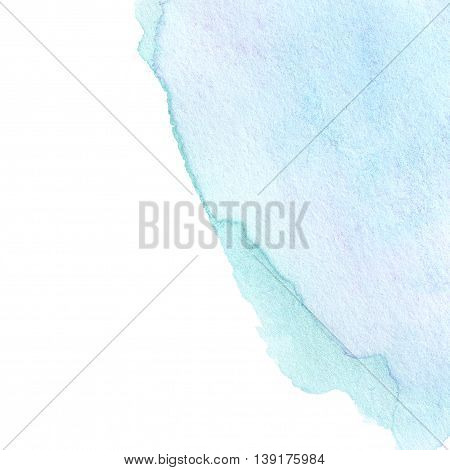 Abstract Turquoise Watercolor background. Colorful blue water color art hand paint. Splash Watercolour texture