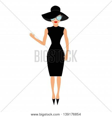 Woman in black elegant hat and sunglasses waving. Rich and beautiful celebrity girl. Beauty fashion model face red lips. People collection Cute cartoon character Flat White background Isolated Vector
