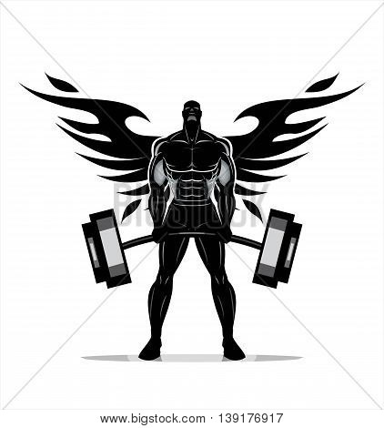 Winged Body builder. Full body Silhouette of Bodybuilder fitness model illustration Power strength man icon suitable for fitness club gym Sport Fitness club creative concept. Fighter. Fighting Club
