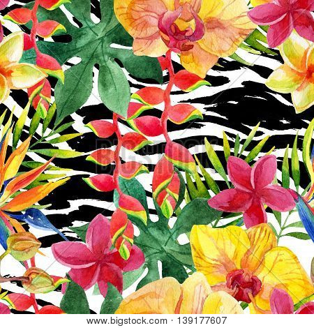 Tropical watercolor flowers and leaves on animal print. Colorful exotic flowers on animal skin texture. African wild tiger skin and orchids seamless pattern. Hand painted watercolor illustration