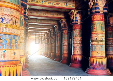 Architecture of ancient Egyptian temple. Historical egyptian civilization.