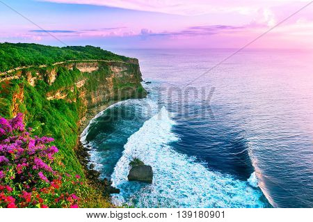 View of Uluwatu cliff with pavilion and blue sea in Bali Indonesia