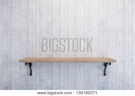 empty book shelf on wooden wall, 3d