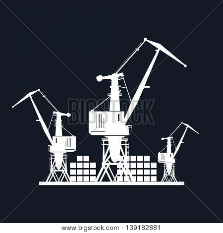 Cargo Cranes and Containers at the Port Isolated on Black Background ,Containers and Cranes at the Dock , International Freight Transportation, Vector Illustration