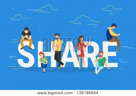 Share concept illustration of young people using mobile gadgets such as tablet pc and smartphone for sharing data, photos and links between each other via internet. Flat big letters share on blue