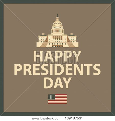 banner with the Capitol in Washington with the words Happy President Day and American Flag
