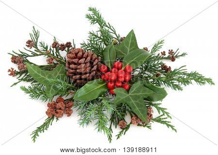 Winter holly with red berries, ivy, cedar cypress, fir and pine cones over white background.