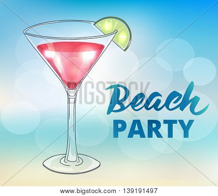 Beach party poster template. Summer background, brush lettering and hand drawn cocktail in martini glass. EPS10 vector illustration.