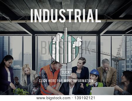Industrial Area Factory Group Business Production Concept