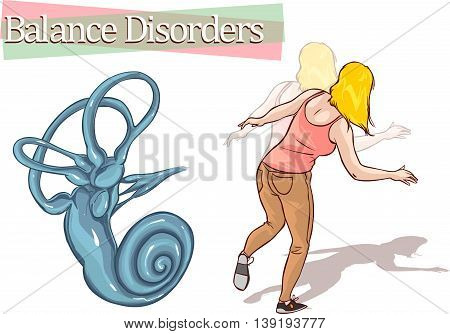 vector illustration of a balance disorder .
