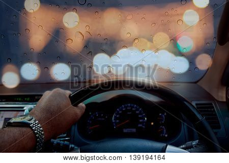 Visibility while driving Low-speed Safety drizzle blurred bokeh background.