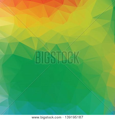 Abstract background with polygons in color of summer athletic games in Rio de Janeiro, Brazil 2016. Vector illustration with orange, yellow, blue and green colors.