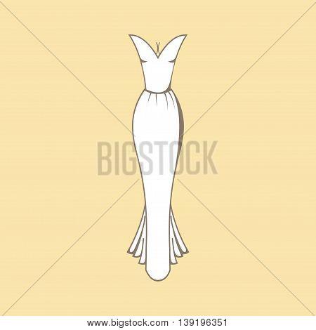 Wedding dress. Clothing for celebration. Outline Wedding dress on colorful background. Classic wedding dress stock image