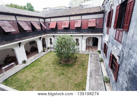 Senado, Macau - February 3, 2015: Mandarin's House is a historic residential complex in Macau. It was the residence and family home of the late Qing theoretician and reformist Zheng Guanying.  Senado, Macau - February 3, 2015: Moorish Barracks was origina