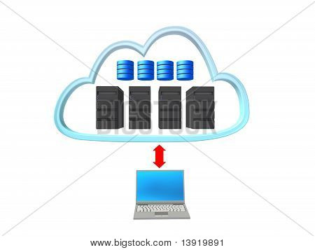 Server Cloud With A Notebook And Red Arrow