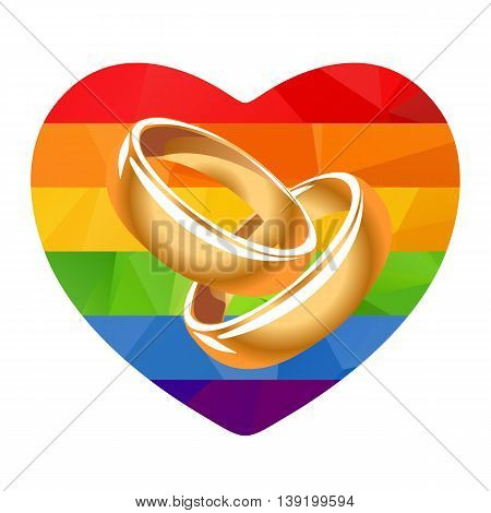 Rainbow Heart And Two Rings