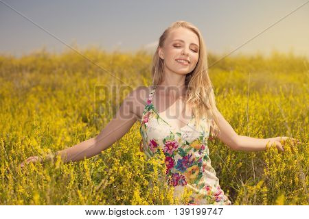 Blonde Sexy Young Beautiful Girl In The Field Photo