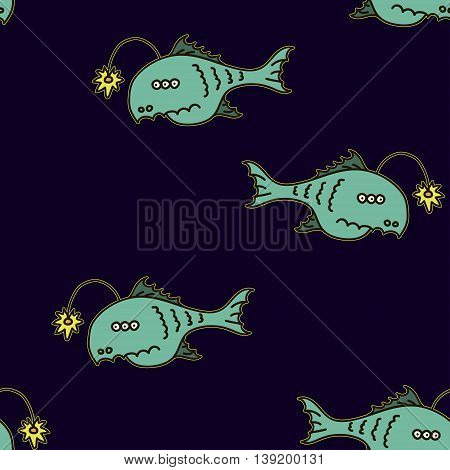 Cartoon anglefish in the deep dark sea or ocean vector illustration.