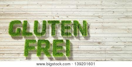 glutenfrei made of grass on white wood background