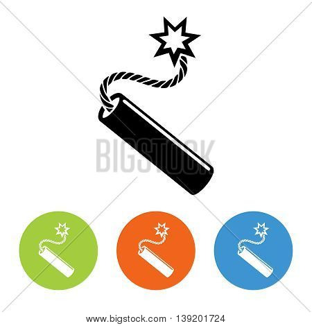 Flat dynamit icon vector. Black and white and colorful design