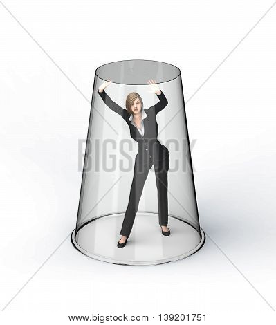 Business Woman Under Glass Ceiling
