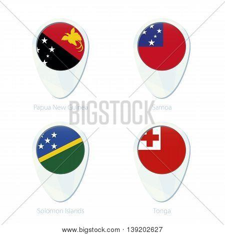 Papua New Guinea, Samoa, Solomon Islands, Tonga Flag Location Map Pin Icon.