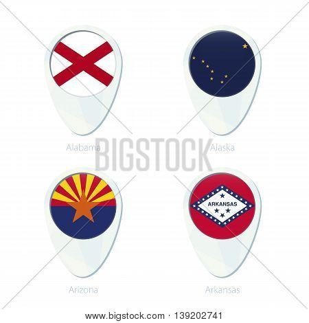 Alabama, Alaska, Arizona, Arkansas Flag Location Map Pin Icon.