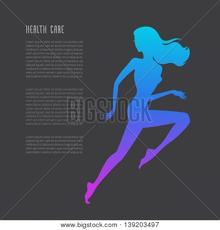 Schematic Running Woman Silhouette
