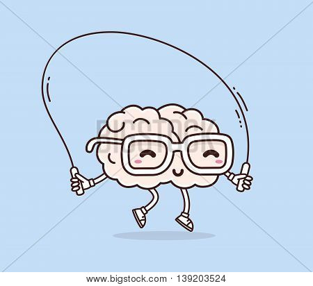 Vector illustration of retro pastel color smile pink brain with glasses jumping rope on blue background. Fitness cartoon brain concept. Doodle style. Thin line art flat design of character brain for sport training education theme