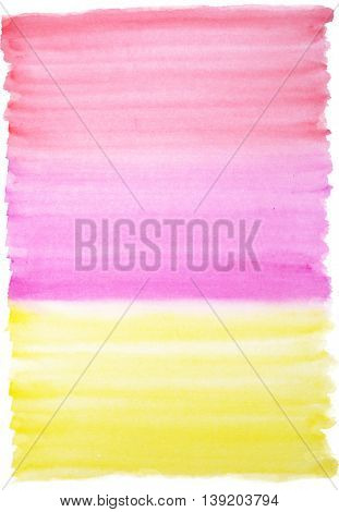 Watercolor background in red magenta and yellow colors