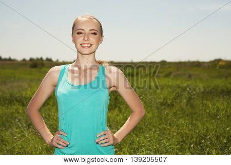 Beautiful Blonde Woman In The Outdoors Sport Photo On Nature
