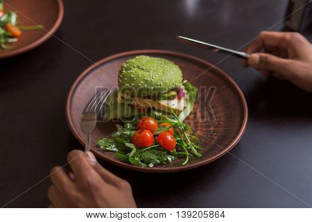 Picture of vegan dish represented on plate. Vegan hamburger and cherry tomatoes are nice idea for vegan person. Vegan restaurant or cafe.