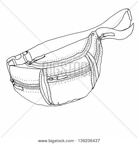 Waist pouch isolated on white background. Belt bag vector isolated on white background. Money bag illustration. Waist pouch vector. Travel bag. hipster bag