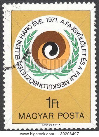 MOSCOW RUSSIA - CIRCA JANUARY 2016: a stamp printed in HUNGARY devoted to the International Year for Action to Combat Racism and Racial Discrimination circa 1971