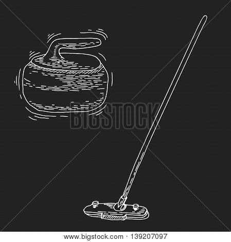 Curling game element set. Winter Sport. Hand Drawing of Curling Rocks and Broom. Broom and stone for curling. Curling sport equipment vector sketch